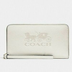 Coach Large Phone Wallet Horse and Carriage, Chalk